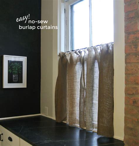 no sew burlap curtains easy no sew burlap curtains burritos and bubbly