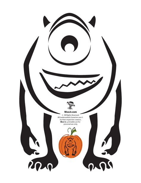 sully pumpkin template pixar pumpkins woo jr activities