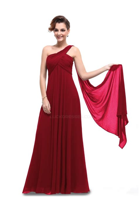 Shoulder Chiffon Dress empire one shoulder burgundy chiffon bridesmaid