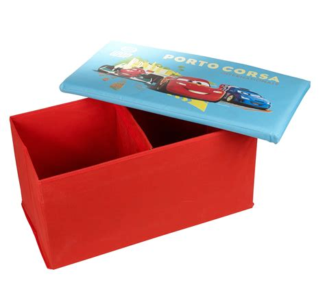 cars storage bench disney pixar cars lightning mcqueen ottoman kids storage bench stool chest lid ebay