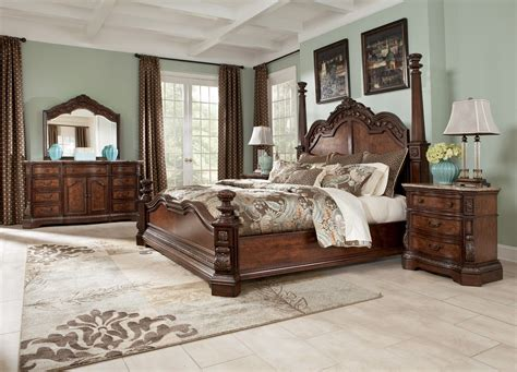 four poster queen bedroom set four poster bedroom sets ledelle poster bedroom set