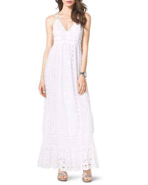 Dress Maxi Dress Wanita Maxi 1 michael michael kors cotton eyelet maxi dress in white lyst