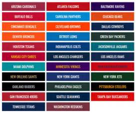 nfl team colors chart primary colors