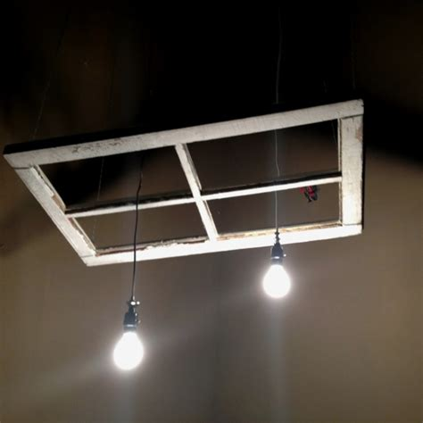 diy window made into light fixture and suspended from