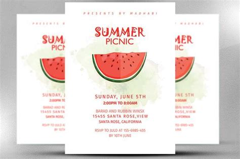 picnic invitation card template summer picnic invitation summer invitation card invitation