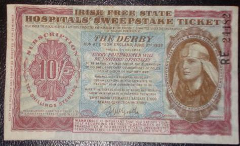 Irish Free State Hospitals Sweepstake Ticket - irish hospital sweepstake collectors