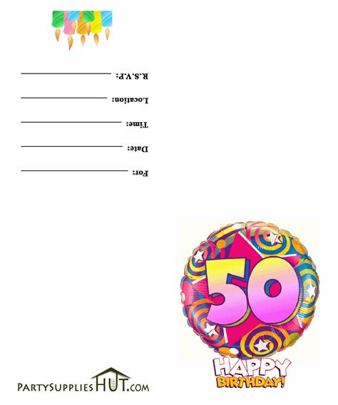 50th Birthday Party Invites Free Templates Cloudinvitation Com 50th Birthday Template