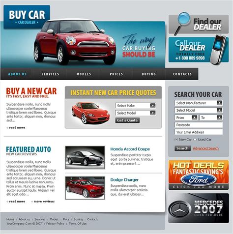 website templates for used car dealers car dealer website template 13685