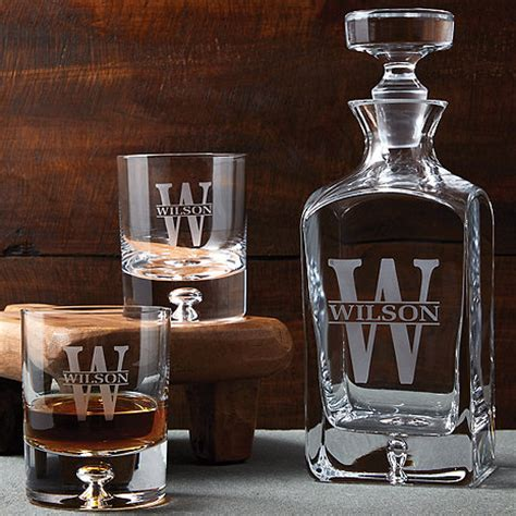Unique Barware Gift Ideas Personalized Whiskey Decanter And Glasses Set