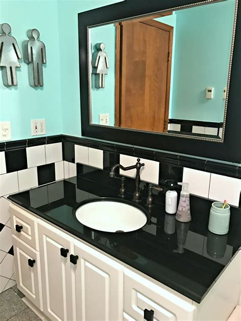 Teal And White Bathroom Retro Black White And Teal Bathroom Makeover On A Budget The Cards We Drew