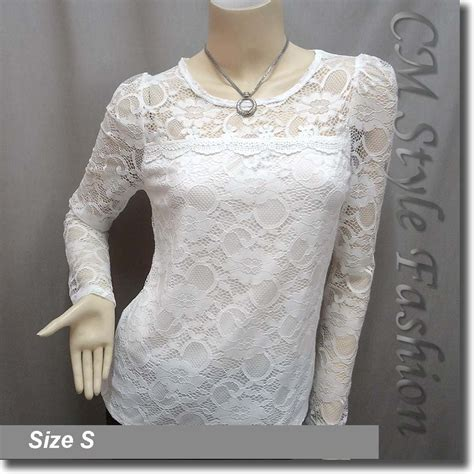 See Through Lace Blouse floral lace see through sheer blouse top white