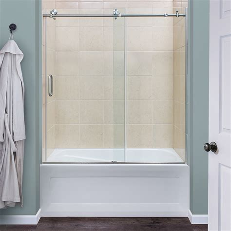 Shower Doors For Baths Marina Collection 3 8 Frameless Roller Tub And Shower