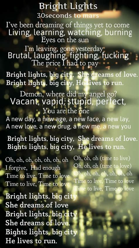 thirty seconds to mars bright lights lyrics black
