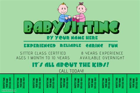 babysitting poster template babysitting template postermywall