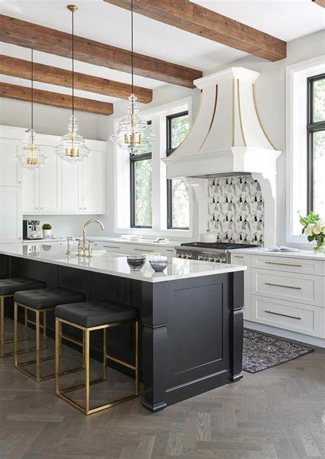 black kitchen islands 2018 island with gray leather counter stools with nailhead trim transitional kitchen
