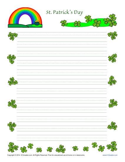 st templates st s day printable lined writing paper
