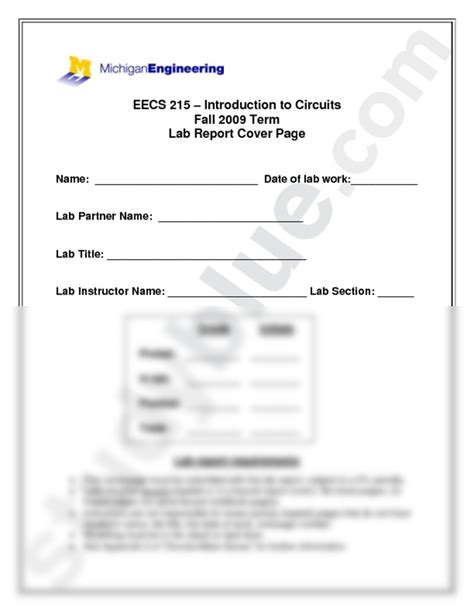electrical engineering lab report template eecs 215 lab report coverpage 2 doc electrical