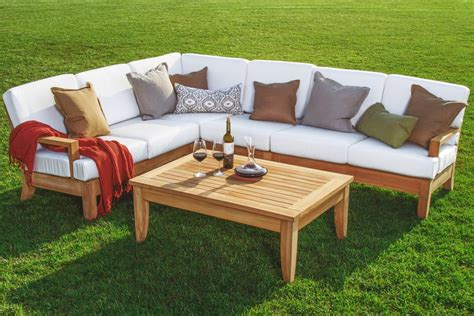 teak outdoor sectional sofa 5 pc a grade teak wood outdoor teakwood patio sectional