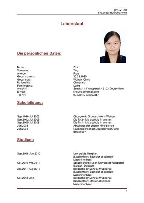 Hobbys Lebenslauf Arzt Lebenslauf Ting Zhao