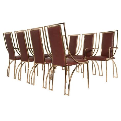 Italian Leather Dining Chairs Modern Stunning Set Of 8 Dining Chairs By Renato Zevi In Brown Calf Leather Italy Modern Dining Room