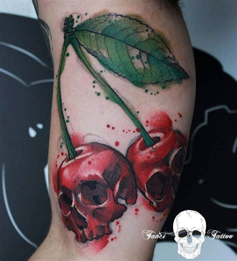 cherry skull tattoo designs skullcherry cherries with skulls best ideas