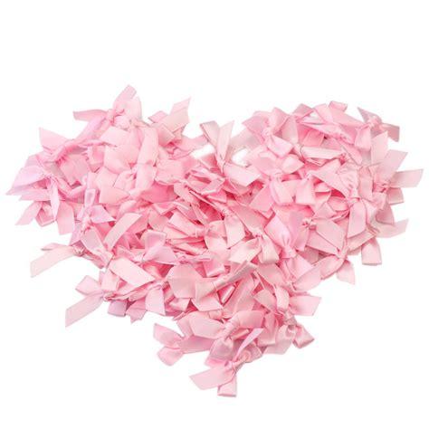 24908 White Pink Flower Size L 100 pcs handmade small size polyester satin ribbon bow