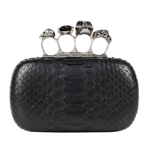 Fashion Bag Skull Black T1910 1 mcqueen s s 2010 black genuine python skull knuckle duster box clutch for sale at 1stdibs