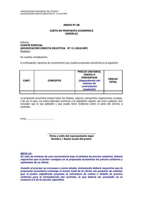 carta de presentacion para propuesta economica f carretera delicias molino