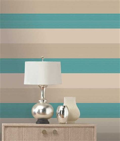 Elm Home Decor by Olivia Ii Cream Teal Gold Stripe Wallpaper 6158