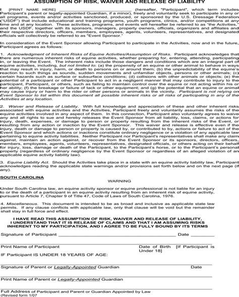 Download South Carolina Assumption Of Risk Waiver And Release Of Liability For Free Formtemplate Risk Waiver Form Template
