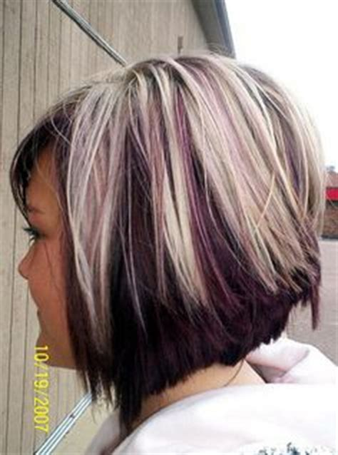 ebony two toned colored bobs two tone hair on pinterest chunky highlights blonde