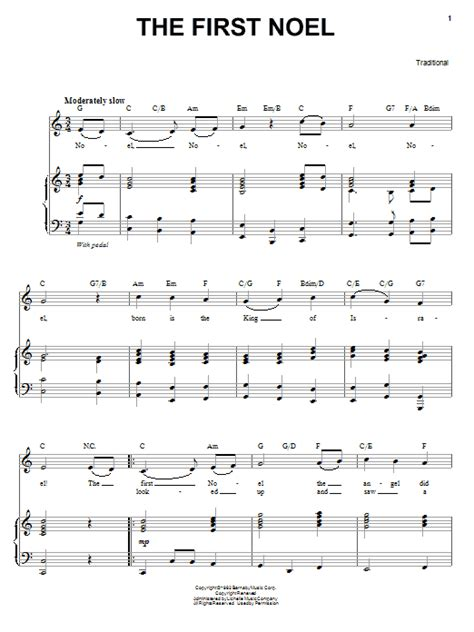 printable lyrics the first noel the first noel sheet music direct
