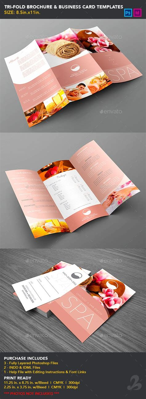 folded business card template photoshop tri fold brochure business card templates spa tri