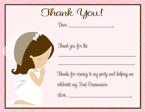 Free Printable Thank You Cards First Holy Communion | thank you card first communion
