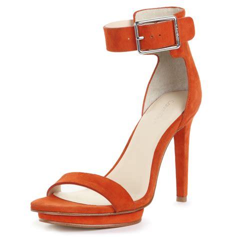 orange strappy sandals calvin klein vivianne strappy sandals in orange lyst