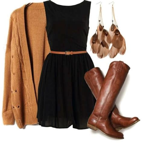 black dress camel cardi brown belt boots excited