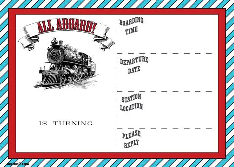 free printable vintage train ticket invitation template