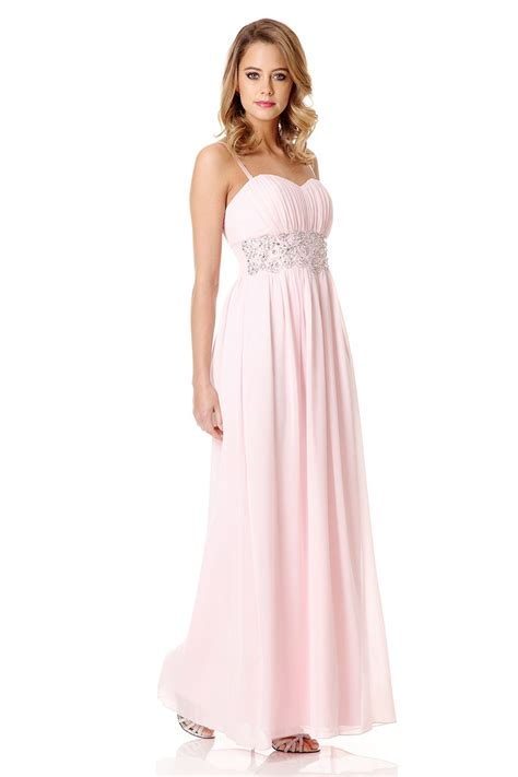 Maxi Pink quiz pink bandeau embellished maxi dress in pink lyst