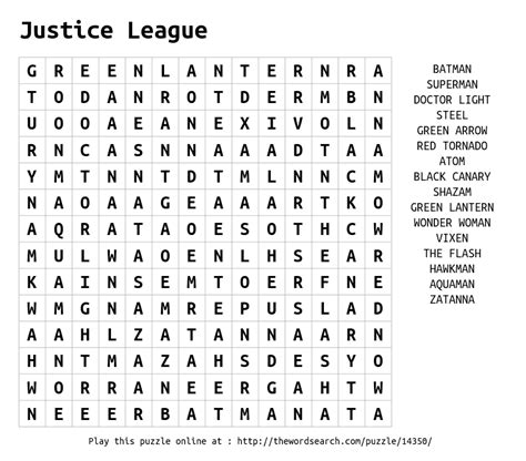 Justice Search Justice League Word Search