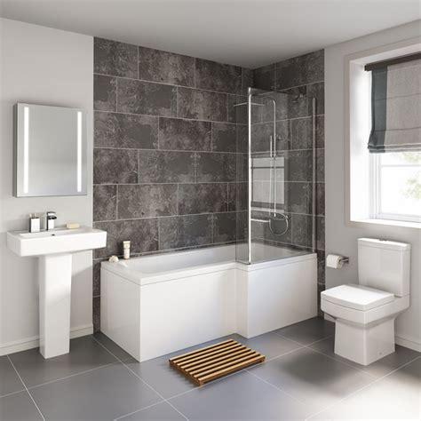 Bathroom Shower Suites 1700x850mm Belfort Shower Bath Suite L Shaped Right Handed Contemporary Bathroom West