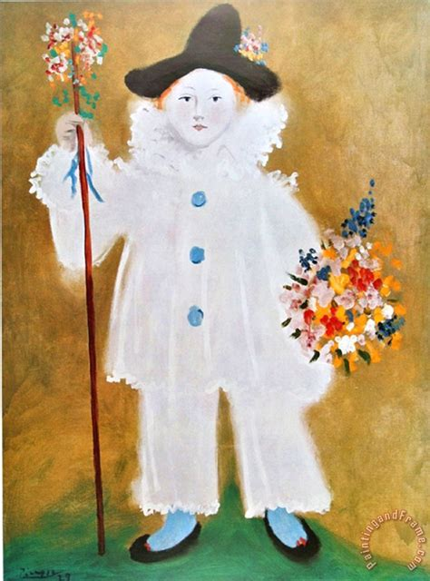 picasso paintings clowns pablo picasso the artist s pierrot with flowers 1929