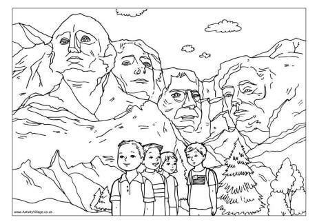 coloring page for mount rushmore unit1 week 5 mount rushmore colouring page mcgraw hill