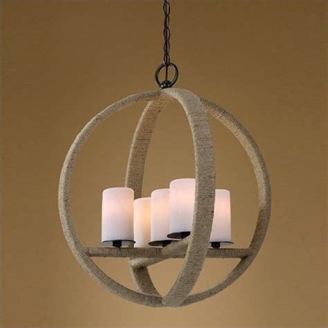 Rope Wrapped L by Uttermost Gironico 5 Light Rope Wrapped Pendant In