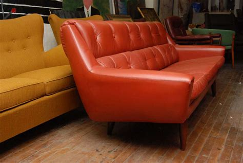 orange leather couch orange red leather couch at 1stdibs