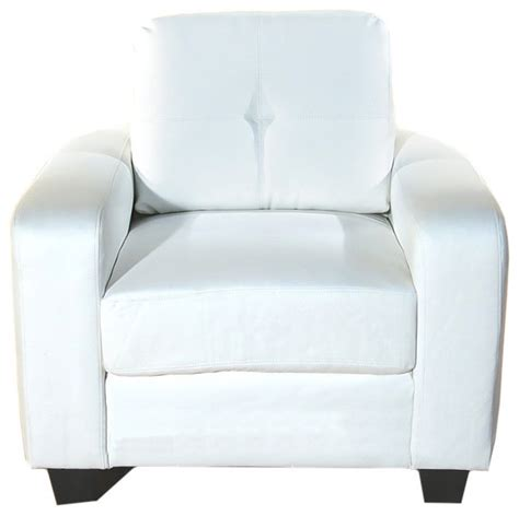 Tufted Accent Arm Chair Soft White Bonded Leather Tufted Arm Chair Armchairs And