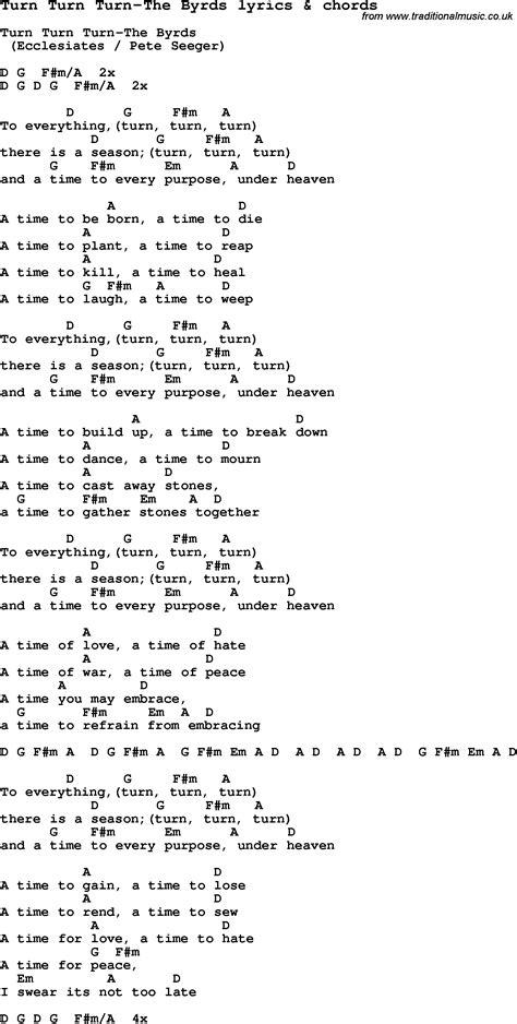 song lyrics for turn turn turn the byrds with chords