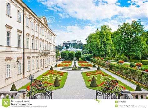 mirabell gardens with mirabell palace in salzburg austria
