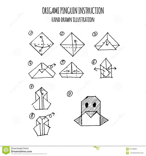 3d Origami Step By Step Illustrations - illustration step by step of penguin origami
