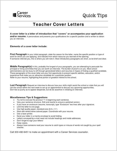 Cover Letter Sle For Resume by Cover Letters For Teachers Sle Cover Letter For New