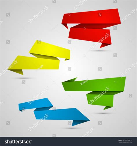 origami paper set origami paper infographic colorful banners set annotation
